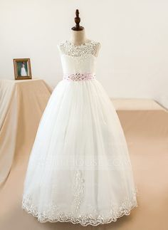 Ball Gown Scoop Neck Floor-length Sash Appliques Bow(s) Tulle Lace Sleeveless Flower Girl Dress (Petticoat NOT included) Flower Girl Dress