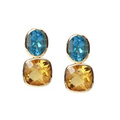 Blue topaz and citrine Drop Earrings in yellow gold. Gee Woods. www.geewoods.com