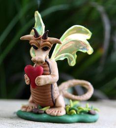 Phoenix  OOAK polymer clay dragon  handmade by DebiMDesigns, $45.00