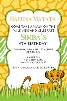 Hey, I found this really awesome Etsy listing at https://www.etsy.com/listing/197857659/printable-invitation-lion-king-birthday