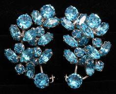 Vintage Aqua Blue Topaz Crystal Rhinestone Cluster Floral Leaf Spray Earrings