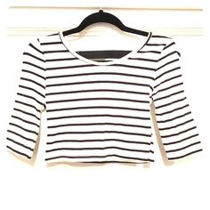Striped Crop Top Tight crop top with 2 straps in the back. Charlotte Russe Tops Crop Tops