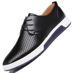 New 2018 Summer Brand Casual Men Shoes Mens Flats Luxury Genuine Leather Shoes Man Breathing Holes Oxford Big Size Leisure Shoes From Touchy Style Outfit Accessories ( black / ) Men Shoes With Jeans, Mens Shoes Boots, Leather Shoes, Men's Shoes, Best Casual Shoes, Best Shoes For Men, Men Casual, Jordan Shoes For Men, Comfortable Dress Shoes