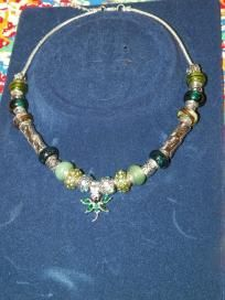 Green & Silver beaded necklace w/Green Dragonfly pendant - $25 + s/h