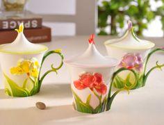 Flower Carved Ceramic Mug ~ Tazas de cerámica ~ diseño flores