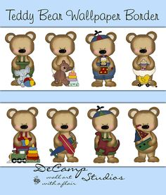 Teddy Bear wallpaper border wall decals for baby boy nursery or children's bedroom decor. These eight adorable teddy bears each holding their own toy will line the nursery walls #decampstudios