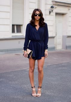 navy playsuit + nude sandals #summer #outfit