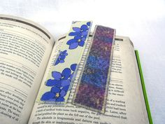 Cotton Bookmark #purple violets flowers double by eyespotdesigns, $8.00