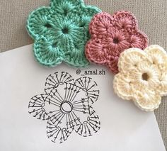 Flor con diagrama crochet  https://www.facebook.com/media/set/?set=a.531840663677152.1073742483.449713775223175&type=3