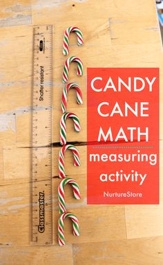 candy cane math Christmas measuring activity, non standard measuring activity 2nd Grade Activities, Measurement Activities, Math Activities For Kids, Math Measurement, Christmas Activities For Kids, Valentines Day Activities, Science For Kids, Fun Math, Math Games