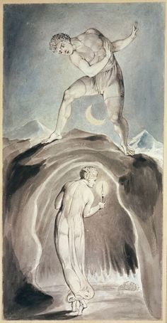 "William Blake: 'The Soul Exploring the Recesses of the Grave', from Robert Blair's ""The Grave"", 1805, object 20. Pen, ink and water colors over traces of pencil on wove paper"