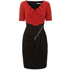Colour Block Mini Dress in Red ($100) ❤ liked on Polyvore
