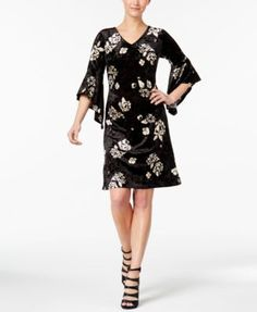 Ny Collection Petite Floral-Print Bell-Sleeve Dress - Black P/XS