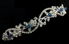 Something Blue Hair Tiara, Bridal Halo, Floral Crown, Vines Tiara, Crystal Headpiece, Grecian Leaves Crown, ADORNA BLUE on Etsy, $99.00