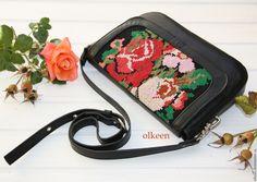 Купить Vintage rose Кожаная сумка с вышивкой - черный, цветочный, Сумка с вышивкой