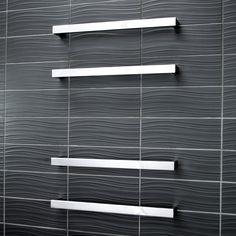 Square Heated Single Bar Towel Rail | Bathroomware House