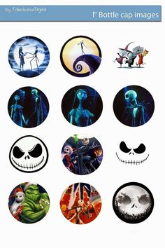 Folie du Jour Bottle Cap Images: The nightmare before Christmas free bottle cap images: