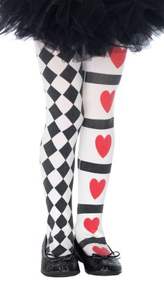 Girls Harlequin And Heart Tights - Alice In Wonderland Costumes for costumed kids/maybe Faust? Family Costumes, Girl Costumes, Dance Costumes, Halloween Costumes, Costume Craze, Pirate Costumes, Halloween Ideas, Costume Ideas, Book Characters Dress Up