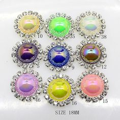 20pcs 18mm Round Faux Pearl Embellishment Rhinestone Button Flateback DIY Accessories Mix 9 Colors ** Check this awesome item by going to the link at the image.