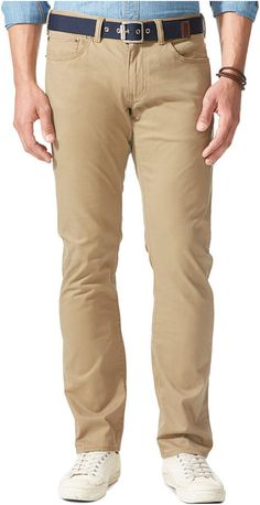 $36, Khaki Chinos: Dockers D1 Slim Fit 5 Pocket Flat Front Khaki Pants. Sold by Macy's. Click for more info: https://lookastic.com/men/shop_items/287280/redirect