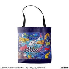 Colorful Cat Cocktail - Cat Art Tote Bag by #dorahathazi For kids, cat art, cat painting, for children, cat, art, cats, whimsical, tabby, ginger, quirky, colorful, gatos, kitty, kitten, feline fantasy, pet, pets, painting, art, watercolor, beautiful, artw