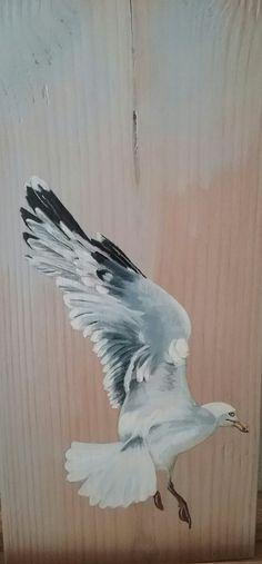 Deel 1 van het drieluik meeuwen met acryl geschilderd door Ineke Nolles.