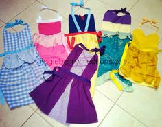 Princess Dress-Up Aprons.  Much faster for a quick-change. I'd add  some tulle under the skirt for a more frilly dress look