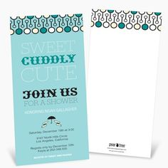 Modern Personalized Baby Shower Invitations -- Sweet Poster in Blue