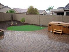 Arizona-Backyard-Design with paver patio, synthetic grass putting green and desert plants. Arizona Living Landscape 480-390-4477