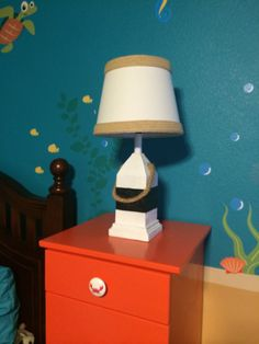 Buoy lamp we found at Garden Ridge along with the shade. It's a little nautical but breaks up the colors.
