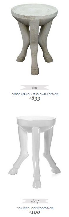 Copy Cat Chic Find | CANDELABRA OLY STUDIO ARI SIDE TABLE vs Z GALLERIE HOOF LEGGED TABLE
