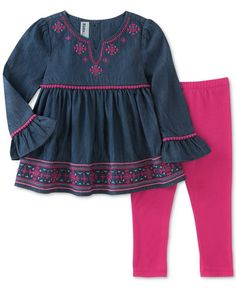 Kids Headquarters 2-Pc. Peplum Chambray Tunic & Leggings Set, Toddler & Little Girls (2T-6X)