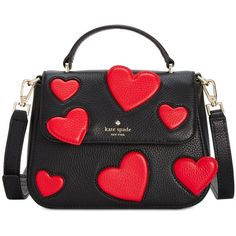 kate spade new york Be Mine Heart Small Alexya Handbag (17.775 RUB) ❤ liked on Polyvore featuring bags, handbags, shoulder bags, multi, leather shoulder handbags, leather satchel handbags, hand bags, kate spade shoulder bag and purse satchel