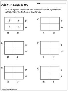 Get Your Kids to Practice Their Addition With These Math Magic Squares: Addition Square # 6