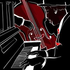 Jazz piano and double-bass. Vector illustration of a Jazz piano and double-bass , Piano Jazz, Piano Y Violin, Jazz Music, Piano Lessons For Beginners, Jazz Art, Double Bass, Jazz Club, Vector Art, Modern Art