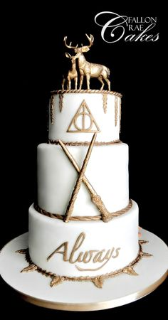 Harry Potter Wedding Cake This is a cake I created for a lovely Harry Potter themed wedding! It consisted of the gold stag, doe, Harry'...