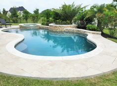 Small and Best Backyard pool landscaping ideas - Great Affordable Backyard ideas Pools & Spas Gallery, Custom Inground Pools in Houston – Freeform pool with raised spa and wall Small Backyard Pools, Backyard Pool Landscaping, Backyard Pool Designs, Swimming Pools Backyard, Swimming Pool Designs, Backyard Ideas, Landscaping Ideas, Outdoor Ideas, Backyard Play