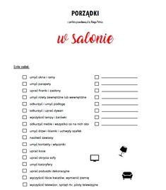 porządki w salonie lista zadań Cleaning Checklist, Cleaning Hacks, Home Management Binder, Minimal Living, Flylady, Brain Dump, Organize Your Life, Diy And Crafts, Life Hacks