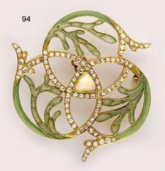 Brooch | Artist ? French.  Plique-à-jour enamel, diamond, opal and gold brooch.  (Art Nouveau)