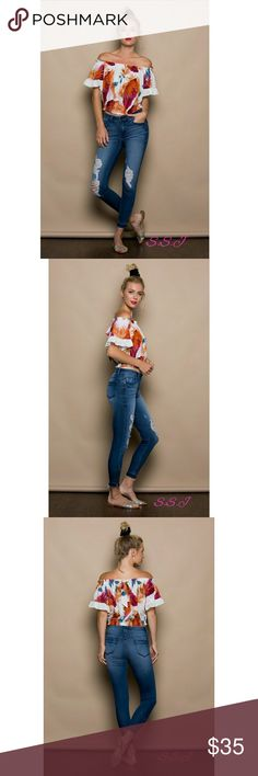 NEW ARRIVAL!! OFF THE SHOULDER TOP WITH SLEEVE LACE 80% COTTON, 20% POLYESTER  boutique Tops Blouses