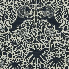 Navy Blue Animal Fabric Upholstery Fabric Yardage With Lions Navy Blue Ivory Home