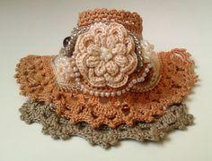 Crochet Flower Bracelet Crochet Cuff Crochet Beaded by stasiSpark
