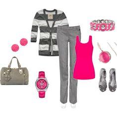 Pink / Gray Pants Set, created by juliaschloegirl on Polyvore