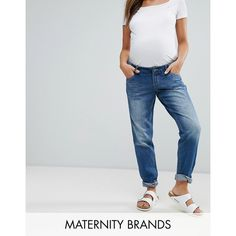 Mamalicious Over The Bump Boyfriend Jean Maternity ($67) ❤ liked on Polyvore featuring maternity and blue