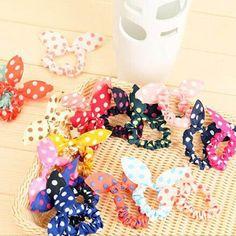 10 Pcs/lot Cute Bunny Baby Girl Flower Hair Clip Headbands Rabbit Ears Dot Headwear Lovely Elastic Hair Rope
