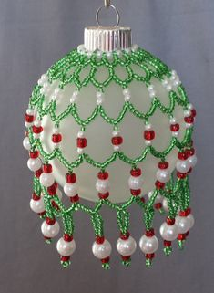 Glass Beaded Ornament Cover Green Seed Beads Red Seed Beads