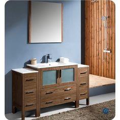 Fresca Torino 60 Walnut Modern Bathroom Vanity Side Cabinets & Integrated Sink