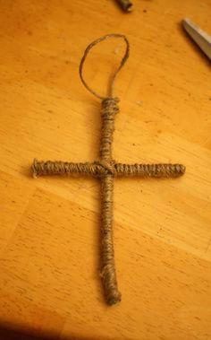 Cross, Rustic Cross, Cross Ornament, Twine Cross