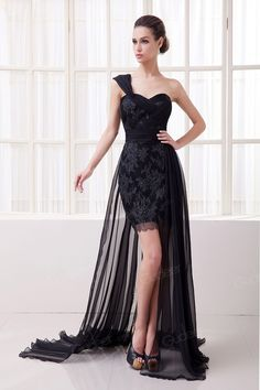 Black One Shoulder Sweetheart Short Empire Prom Dress with Floor Length Chiffon Overlay - Gudeer.com