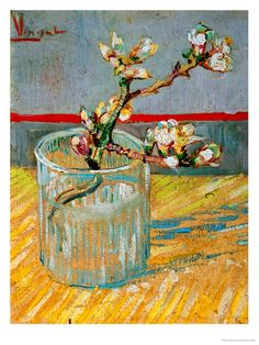 Blossoming Almond Branch in a Glass, Vincent Van Gogh.
